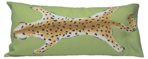 Green Leopard Cotton Feathers Lumbar Pillow