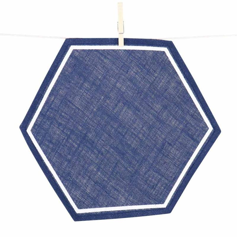 Navy Hexagon Jute Placemat|Set 4