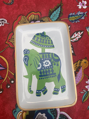 Hand Painted  Toile Elephant Tray