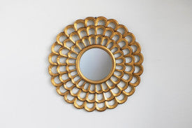 Round Hand-Carved Scalloped Wood Wall Mirror, Creative Co-Op, Dashing Trappings