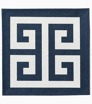Oxford Blue Greek Key Jute Placemat  | Set of Four