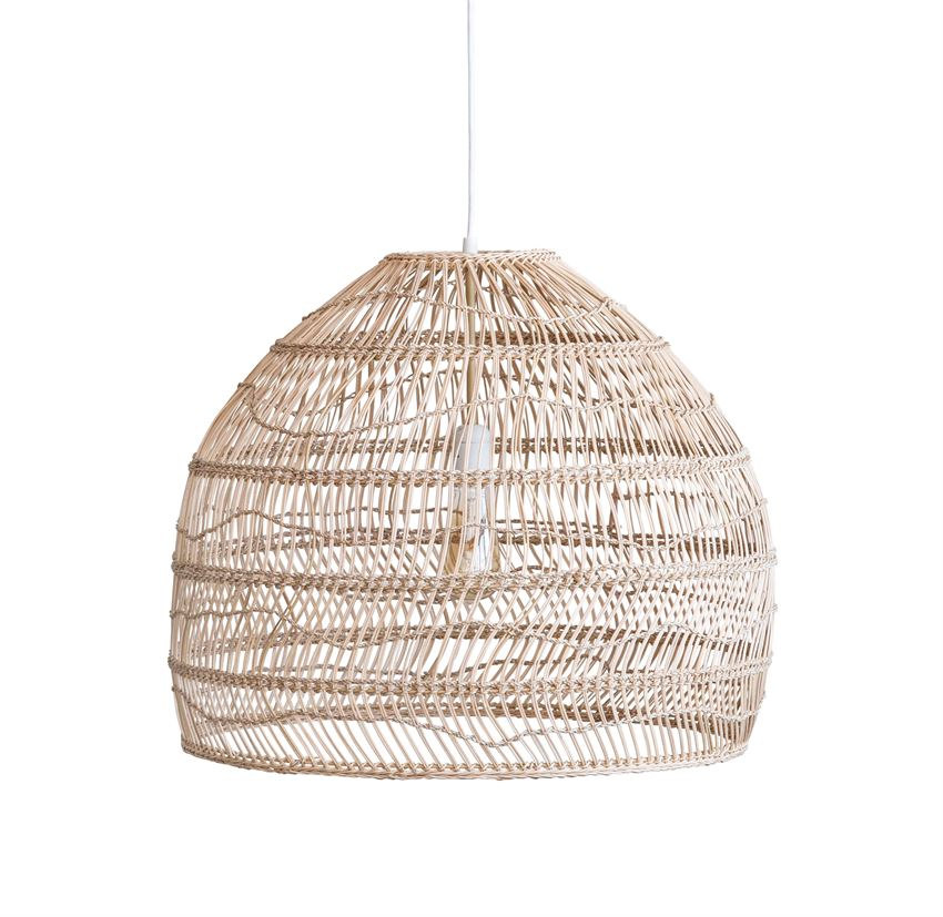 Beige Wicker & Metal Pendant Lamp - Dashing Trappings