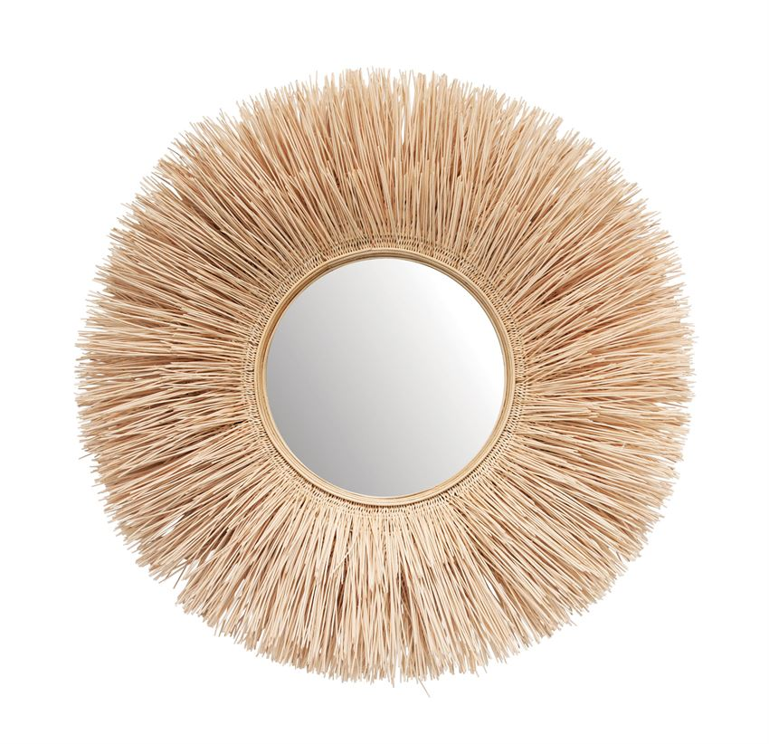 Round Handmade Bleached Wicker Wall Mirror - Dashing Trappings