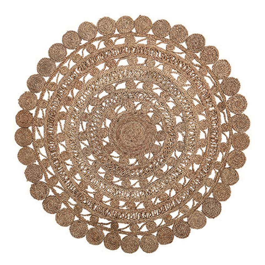 Round Hand-Woven Jute Rug, Bloomingville
