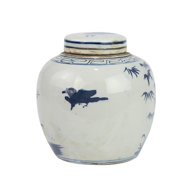 Blue And White Mini Jar Pine Tree