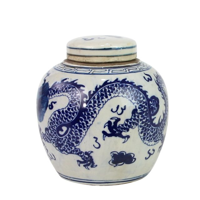 Blue And White Mini Jar Dragon