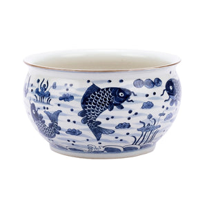 Blue & White Fish Motif Orchid Bowl, Legends of Asia