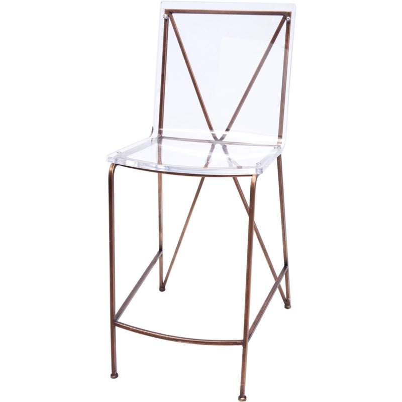 Xavier Bronze Counter Height Acrylic Barstool - Dashing Trappings