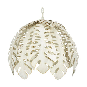 Collins Tropical Leaf Chandelier with Cream Finish - Dashing Trappings