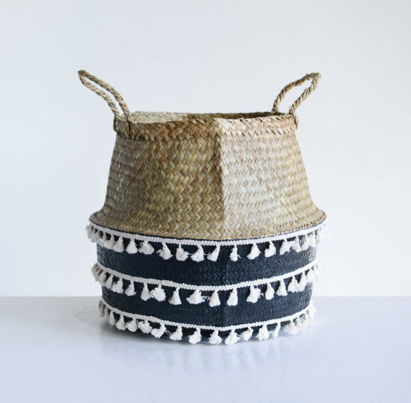 Beige & Black Natural Seagrass Collapsible Basket with Handles & White Tassels, Bloomingville, Dashing Trappings