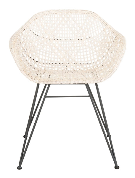 Jadis Leather Woven  Dining Chair, Safavieh, white, modern