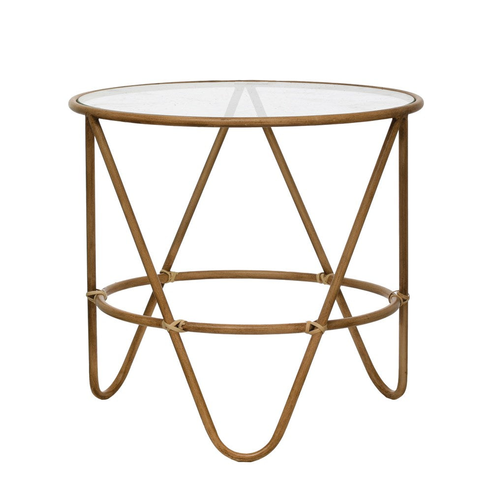 "19.5"" Round x 18""H Metal Bamboo-Style Table with Glass Top, Truck Ship, Creative Co-op"