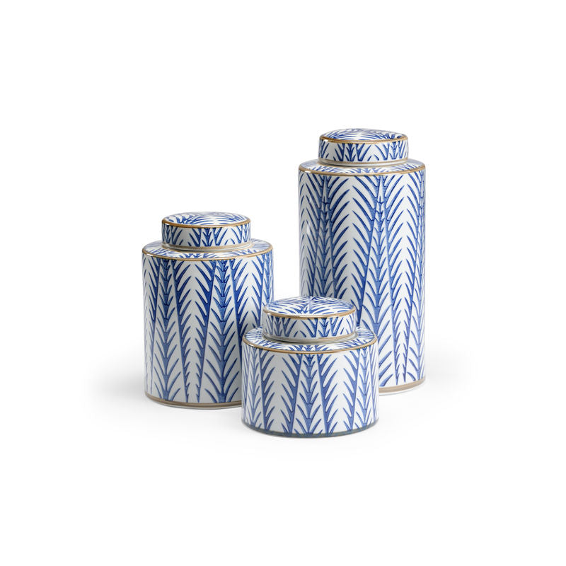 Blue Fronds Canisters, Wildwood, Dashing Trappings