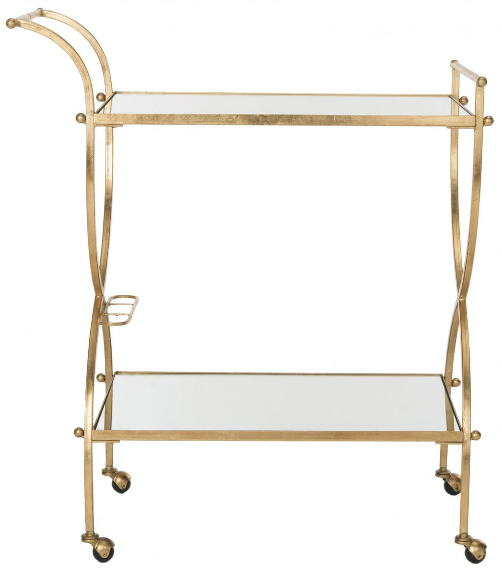Lucretius Bar Cart, Safavieh, Dashing Trappings, Brass