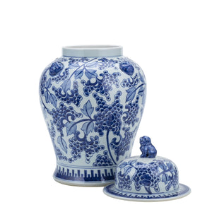 Blue And White Peony Temple Jar With Lion Handles, Legends of Asia, Legend Accents, Ginger Jar, Dashing Trappings