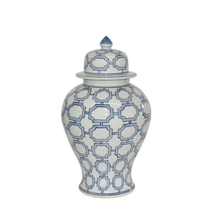 Blue And White Octagonal Window Temple Jar, Legends of Asia, quatrefoil, ginger gar, Dashing Trappings