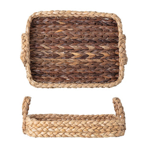 "Decorative 22""L Handwoven Seagrass Tray with Handles, Bloomingville, Dashing Trappings"