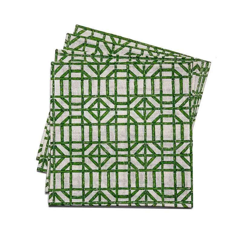 Green Bamboo Square Jute Placemat | Set of 4