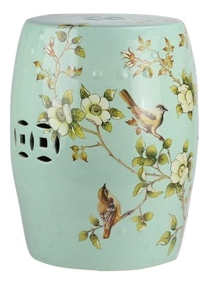 Incredible Chinoiserie pale green garden seat, The Enchanted Home, Dashing Trappings