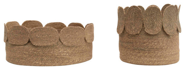 Handwoven Natural Seagrass Baskets with Appliquéd Edge (Set of 2 Sizes), Bloomingville, Dashing Trappings