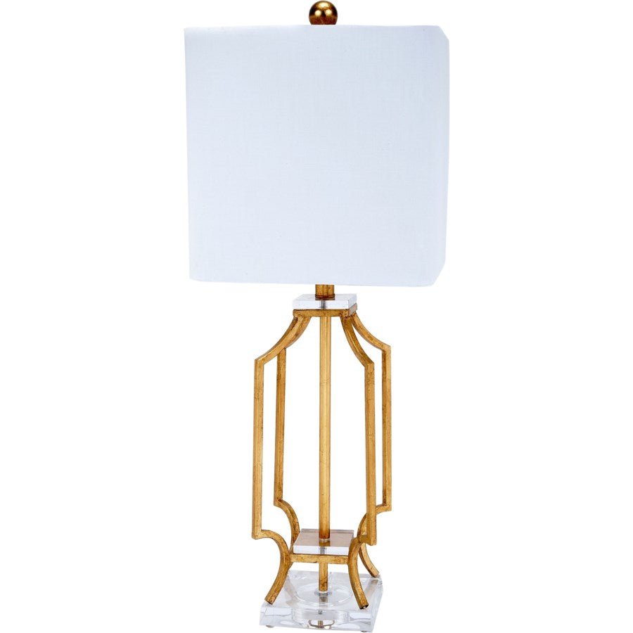 Elise Gold Metal Lamp with Lucite Base & Square Shade