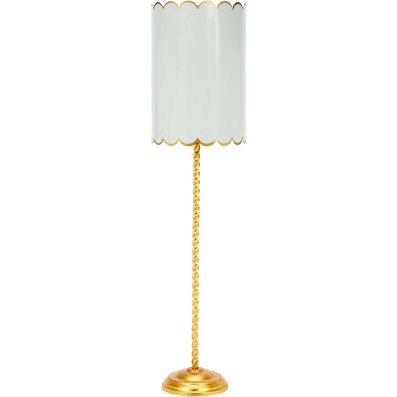Julia Twist Buffet Lamp, ALYS GOLD TWIST BUFFET LAMP WITH WYTHE BLUE & GOLD SCALLOPED SHADE, Dashing Trappings
