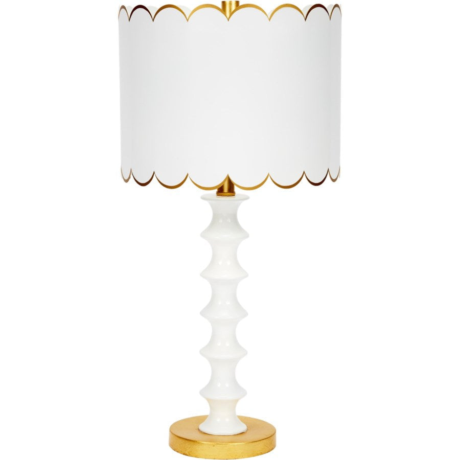 Eloise Gloss  & Gold Table Lamp with Scalloped Metal Shade - Dashing Trappings