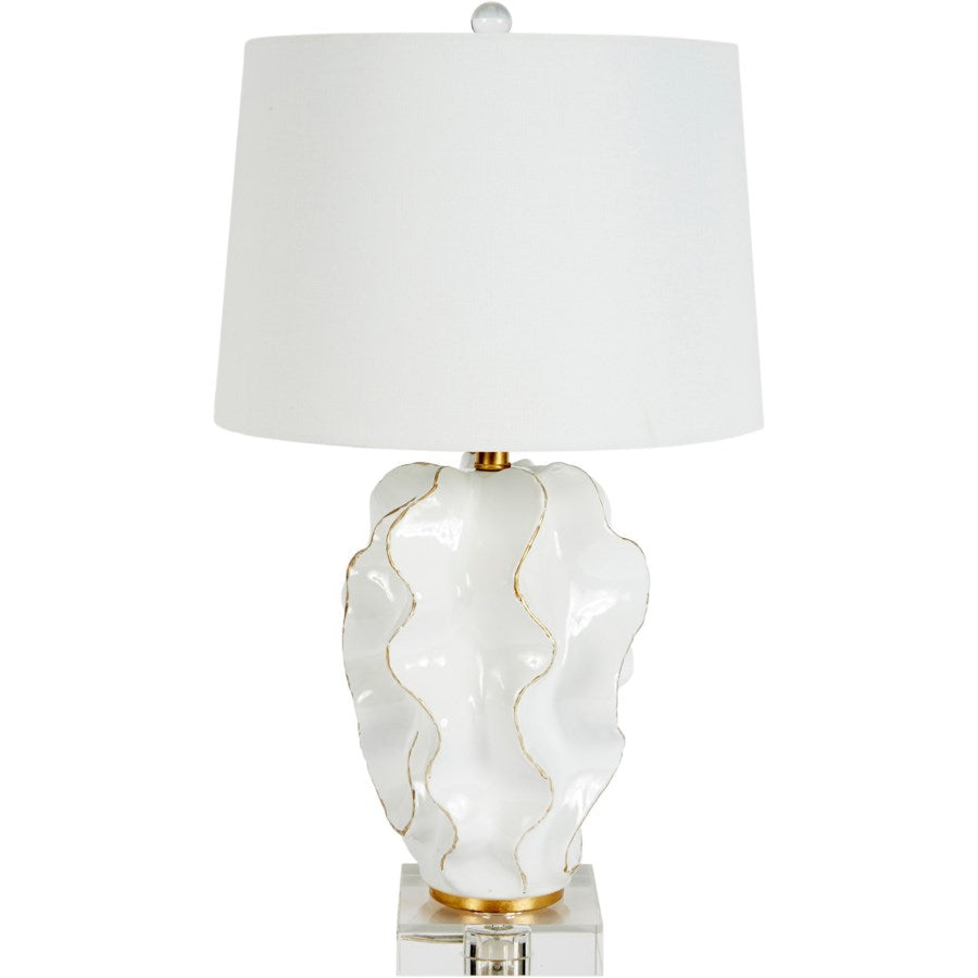Hannah White Ceramic Wave Lamp - Dashing Trappings