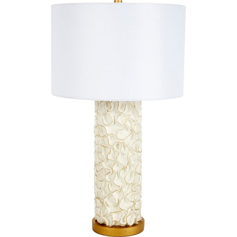 White Swirl Table Lamp with Gold Accents & White Linen Shade - Dashing Trappings
