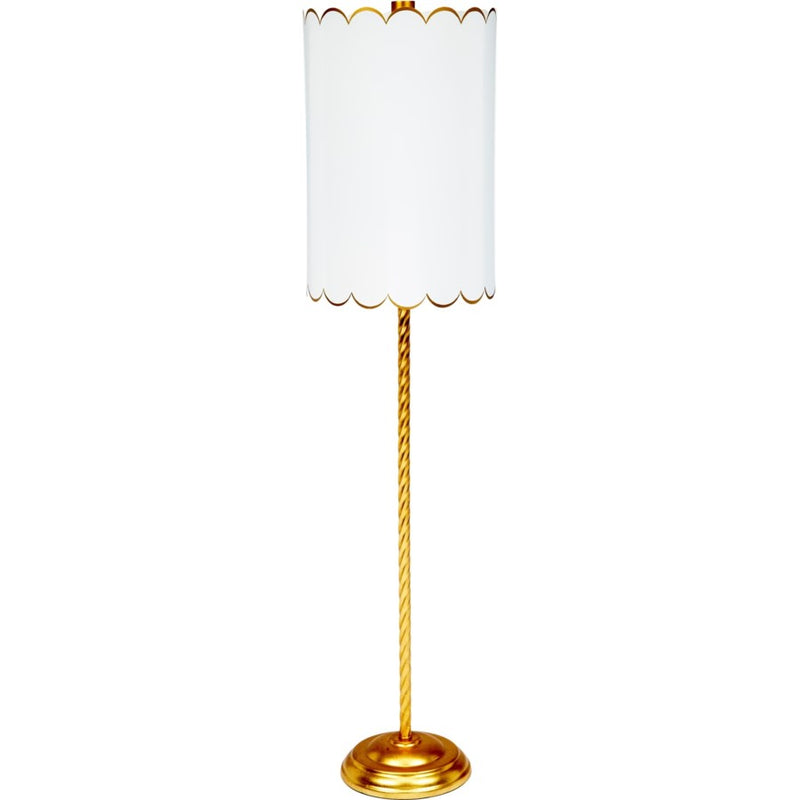 Julia Twist Buffet Lamp, ALYS GOLD TWIST BUFFET LAMP WITH white & GOLD SCALLOPED SHADE, Dashing Trappings