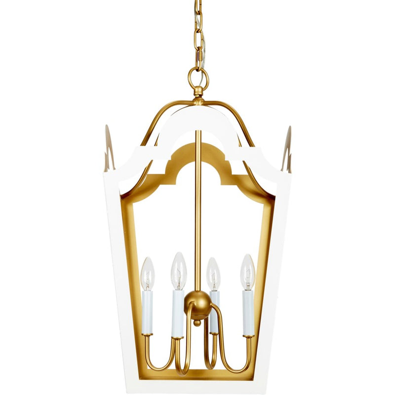GLOSSY WHITE & GOLD JACKIE LANTERN, Old World Designs, Dashing Trappings
