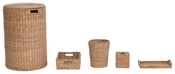 5-Piece Handwoven Seagrass Bathroom Accessories , Bloomingville, Dashing Trappings