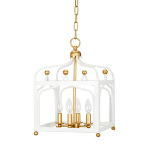 Glossy White and Gold Sabrina Pendant - Dashing Trappings, Lady Kate Lantern