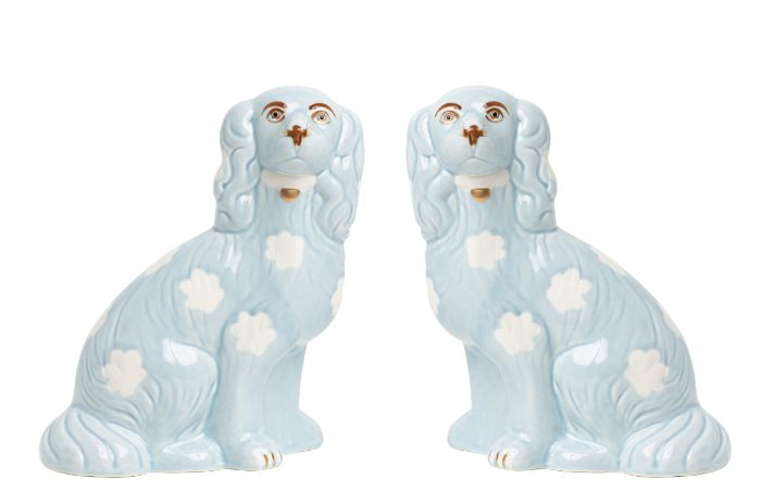 Fabulous pale blue large Staffordshire pair of dogs, The Enchanted Home, Dashing Trappings