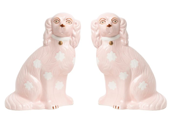Fabulous new pale pink large Staffordshire pair of dogs, The Enchanted Home, Dashing Trappings