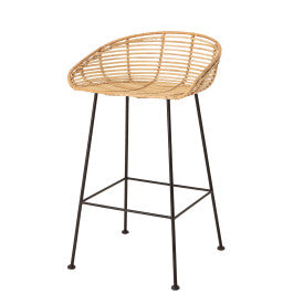 Woven Rattan Bar Stool with Black Wrought Iron Legs, Bloomingville, Dashing Trappings