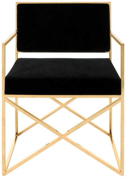 Kian Velvet Directors Chair, Safavieh, Black