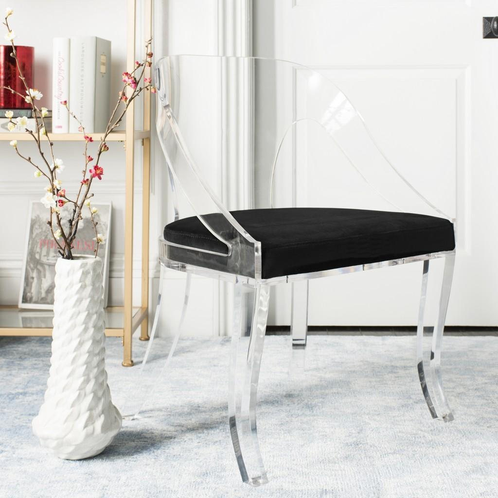 Sabina Acrylic Chair, Safavieh, lucite, black, worlds away