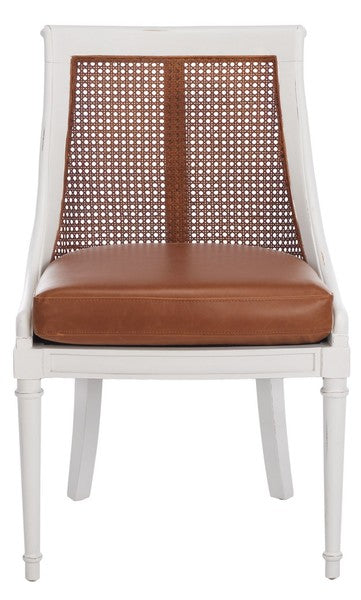 Saylor Dining Chair, Safavieh, leather, camel, white