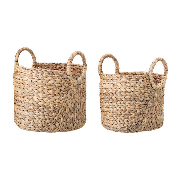 Handwoven Beige Seagrass Baskets with Round Handles (Set of 2 Sizes), Bloomingville, Dashing Trappings