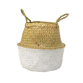 Beige & White Seagrass Folding Basket with Handles, Bloomingville, Dashing Trappings