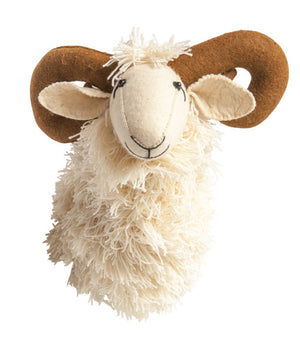 White Wool & Felt Ram Head Wall Décor, Creative Coop, Dashing Trappings, Child Decor