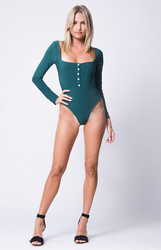 BUTTON DETAIL DOUBLE LAYERED BODYSUIT