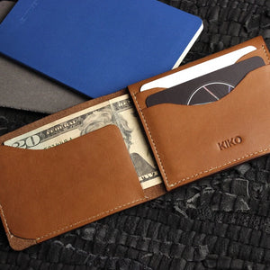 Simplistic Cowhide Leather Wallet - Brown