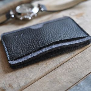 Cowhide Leather Card Holder Wallet - Black
