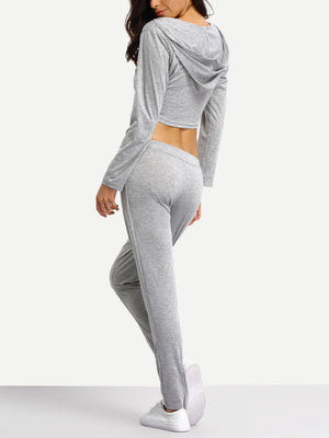 Crop Hoodie And Jogger Lounge Set