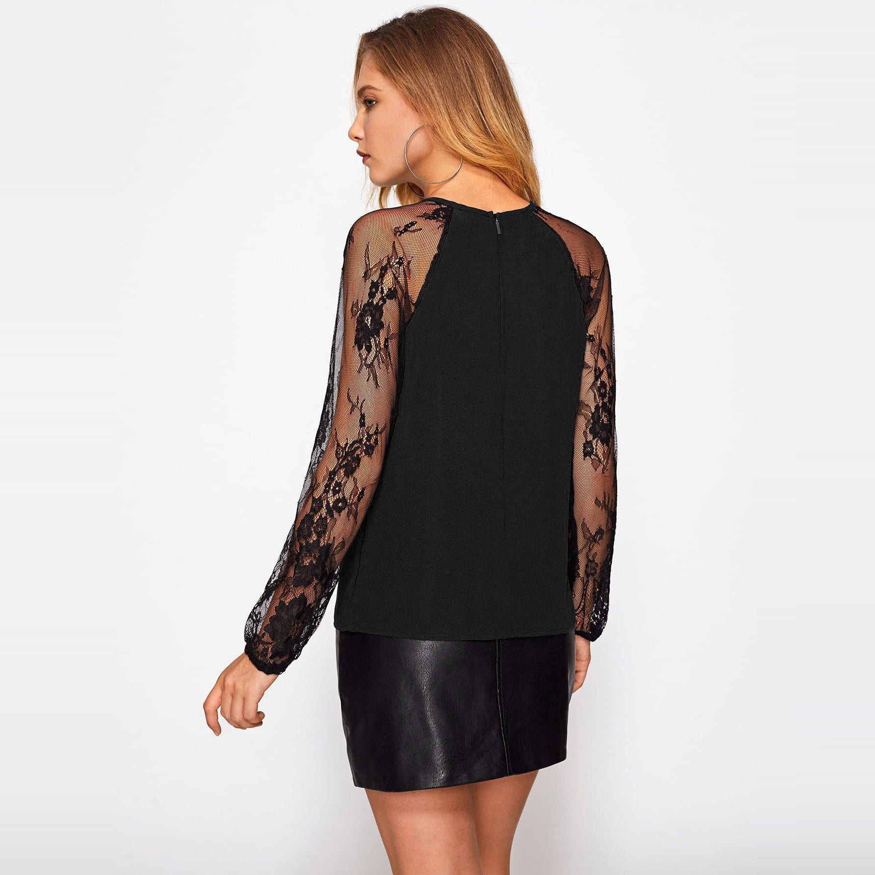 Women's Lace Raglan Sleeve Keyhole Blouse - Black