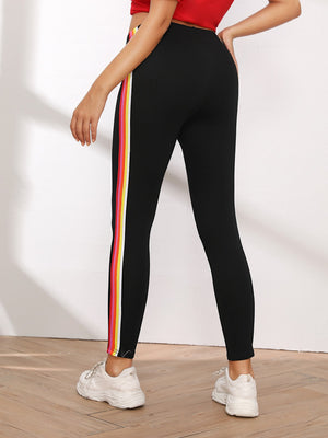 Rainbow Tape Contrast Skinny Leggings