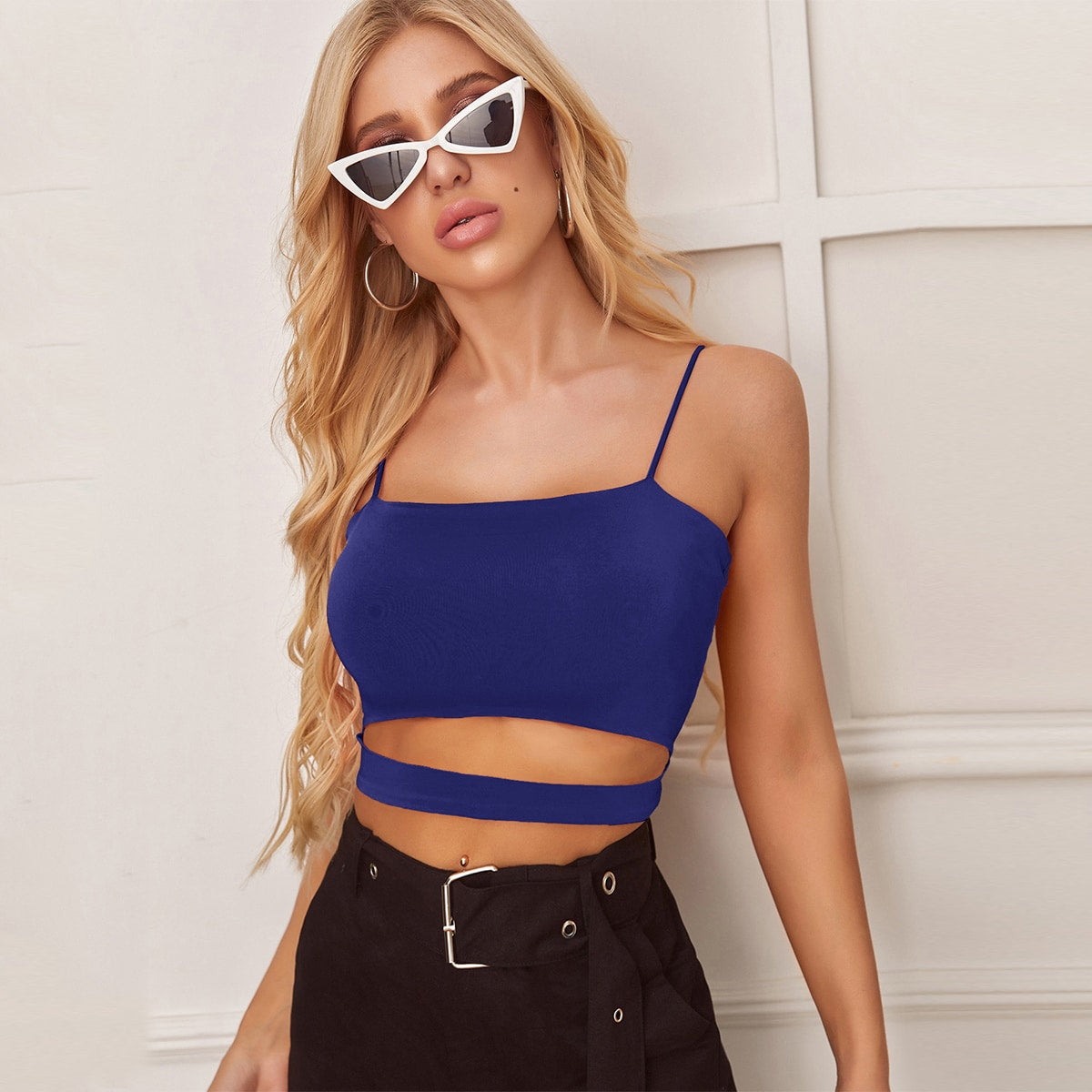 Solid Cut Out Crop Cami Top