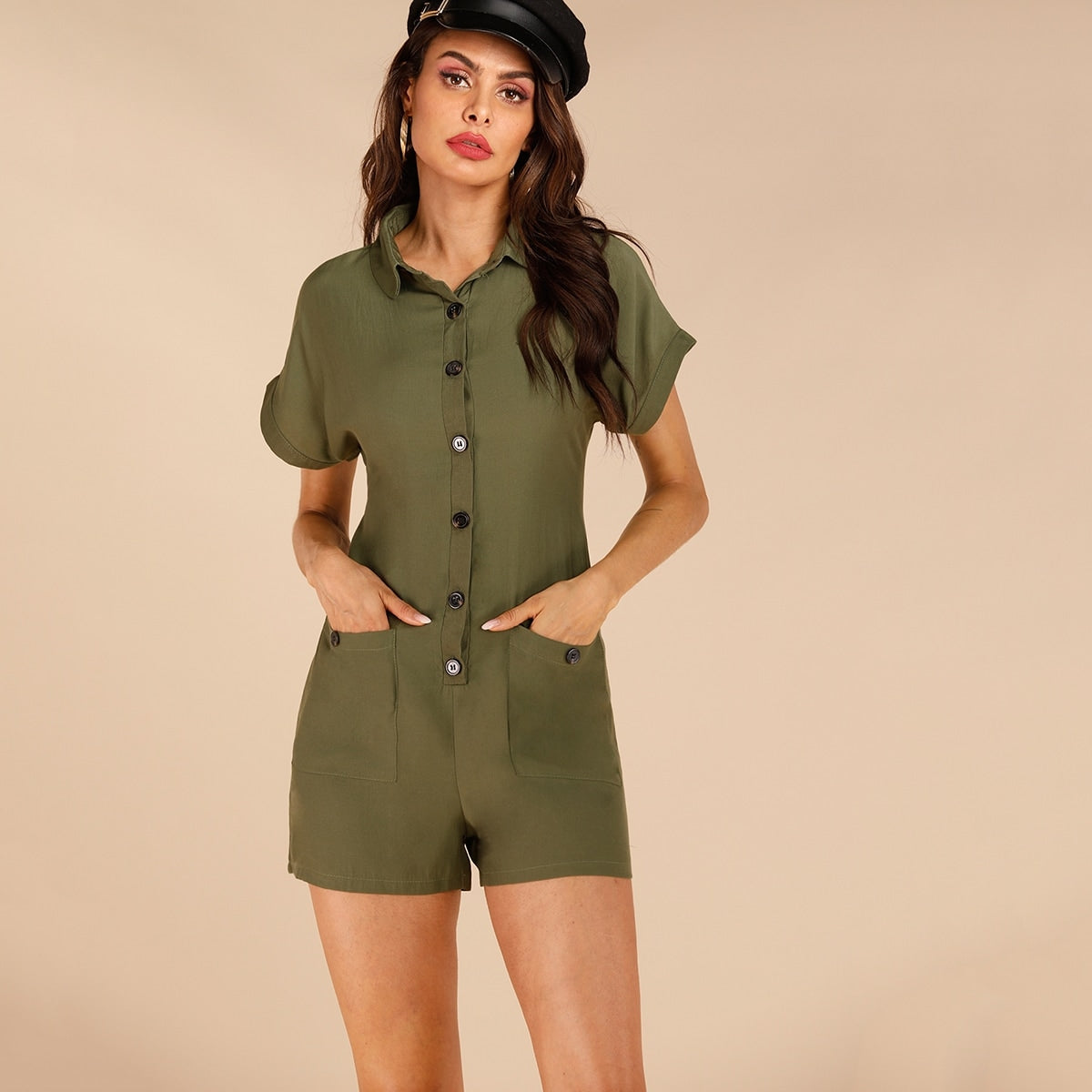 Button Front Dual Pocket Cargo Romper